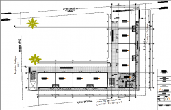 Second floor layout plan details of shopping mall dwg file