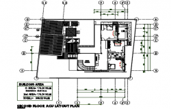 Second floor plan in A.C. detail dwg detail Second floor plan in A.C. with dimension detail file