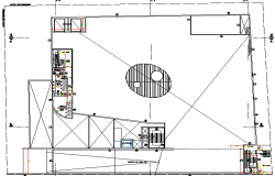 Second floor plan layout details of shopping center dwg file