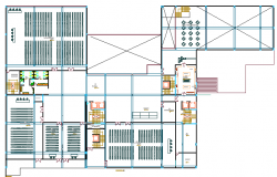 Second floor plan of Three Star Hotel Project dwg file