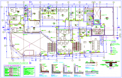 Second floor plan of financial office dwg file