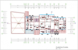 Second floor plan of government building with architectural view dwg file