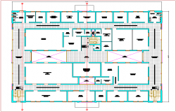 Second floor plan of judicial court view dwg file