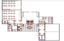 Second floor plan of multi-flooring hotel design dwg file