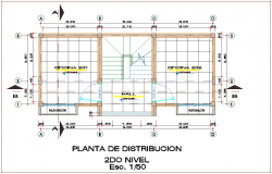 Second floor plan of office with distribution view dwg file