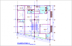Second floor plan of office with multi family housing dwg file