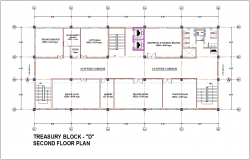 Second floor plan of treasury block D for admin building dwg file