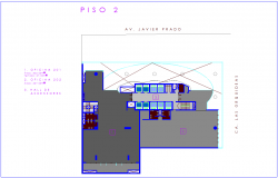 Second floor plan office building with architectural view dwg file