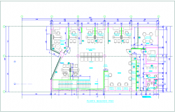 Second floor plan with architectural view for banking agency dwg file