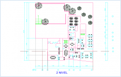 Second floor plan with architectural view of office design dwg file