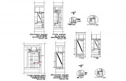 Second floor section, installation and plumbing details of public hygiene services dwg file