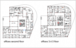 Second to fifth floor plan of office area dwg file