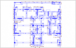 Second to fourth floor plan structure view dwg file