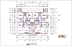 Second to fourth floor plan view of apartment dwg file