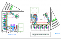 Secondary school for women ground and first floor plan dwg file