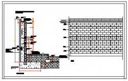 Section  drawing of abutment wall details