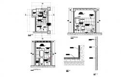 Section-A, section-B, plan and installation details of house toilet dwg file