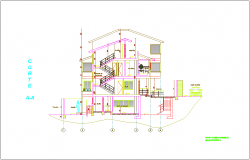 Section A-A view for house building dwg file