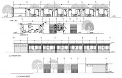 Section And Elevation Plan of Restaurant DWG