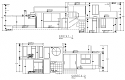 Section Beach house plan detail dwg file