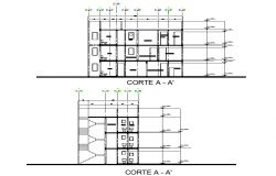 Section Building of three levels plan detail dwg file