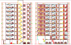 Section Details of Multi-Family Residential Building dwg file