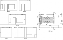 Section Drawing of House with Key Plan detail in Autocad