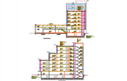 Section Exhibition and business center plan detail dwg file