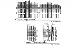Section Housing and trade elevation detail dwg file