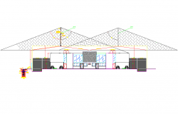 Section Lighting rod connection installation plan detail dwg file