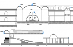 Section Plan of Islamic Center Architecture Layout dwg file