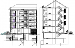 Section Plan of Six Floors Multi-Family Residential Building dwg file