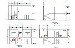 Section Project executive home plan detail dwg file