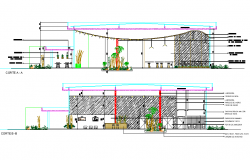 Section Project restaurant plan detail dwg file