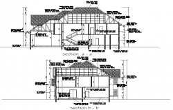 Section Residential building home plan detail dwg file