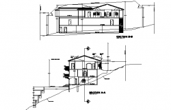 Section Split level house hill side detail dwg file