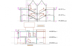 Section Twin bungalow detail dwg file