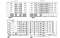 Section and elevation Commercial complex vegetable market plan