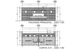 Section and elevation Public bathrooms detail dwg file