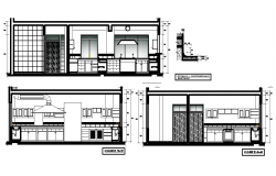 Section and elevation drawing of kitchen.