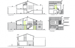 Section and elevation house plan detail dwg file