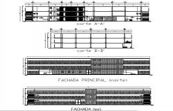 Section and elevation parking building plan detail dwg file