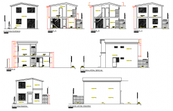 Section and elevation single family plan detail dwg file
