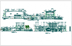 Section and elevation view of office building dwg file