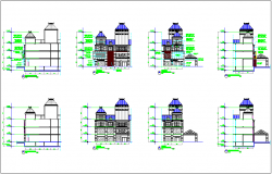 Section and elevation with different axis view of office dwg file