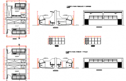 Section and machinery details of urban industrial plant dwg file