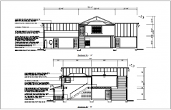Section and side section view of house detail view dwg file