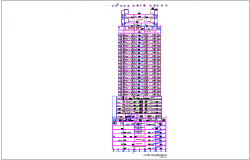 Section axis A-A' section view of high rise building with architectural view dwg file