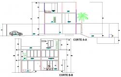Section beach house 3 floors plan autocad file