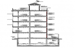 Section building four plants and cellar plan detail dwg.,